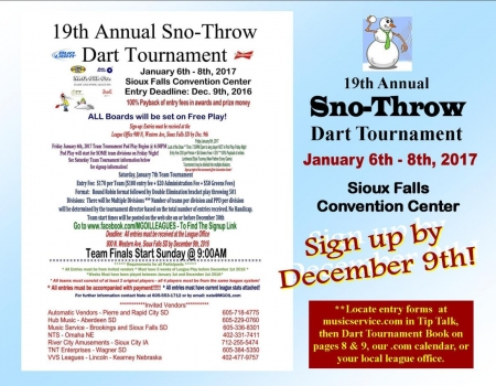 19th Annual SNO-THROW Team Dart Tournament