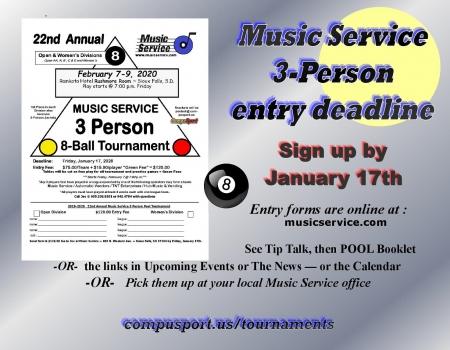 2020 Music Service 3-Person 8-Ball