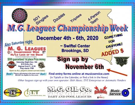 2020 MG Leagues Dart Championship Weekend